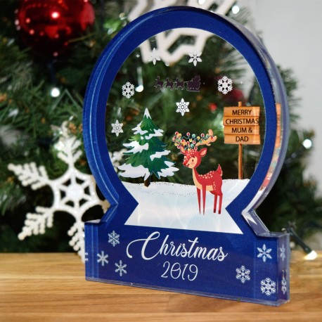 Blue Novelty Reindeer Christmas Snow Globe Acrylic Themed Ornament Bespoke Gift
