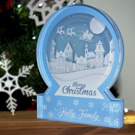 Christmas Village Snow Globe Acrylic Themed Ornament Bespoke Gift