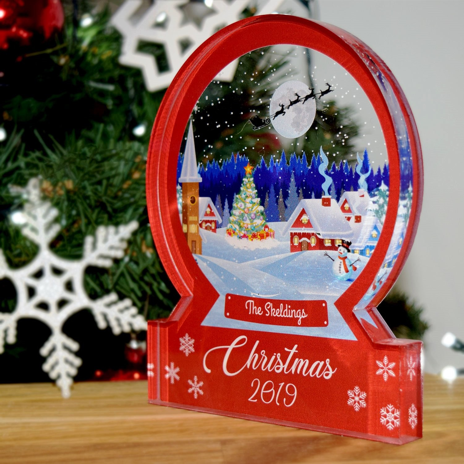 A Christmas Snow.Personalised Quality Snow Globe Family Christmas Ornament