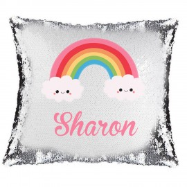 Rainbow Smile Magic Reveal Cushion Cover PERSONALISED Sequin Pillow Xmas Gift