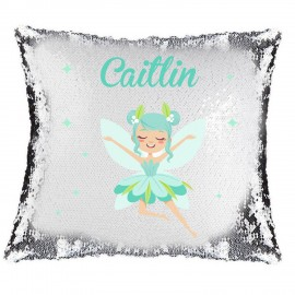 Blue Fairy Magic Reveal Cushion Cover PERSONALISED Sequin Pillow Xmas Gift