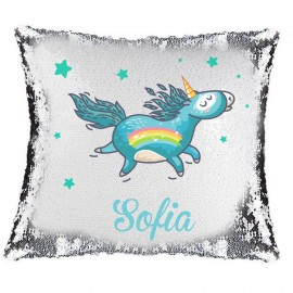 Blue Unicorn Magic Reveal Cushion Cover PERSONALISED Sequin Pillow Xmas Gift