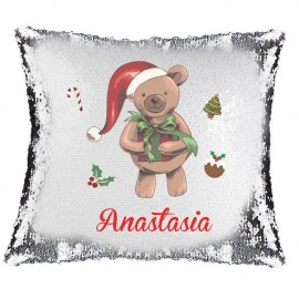 Christmas Bear Magic Reveal Cushion Cover PERSONALISED Sequin Pillow Xmas Gift