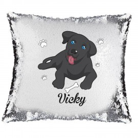 Labrador Magic Reveal Cushion Cover PERSONALISED Sequin Pillow Xmas Gift