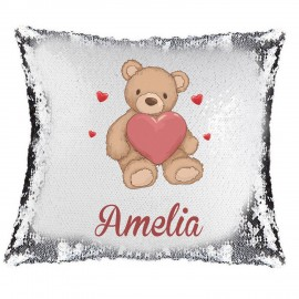 Love Bear Magic Reveal Cushion Cover PERSONALISED Sequin Pillow Xmas Gift