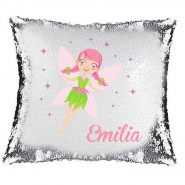 Pink Fairy Magic Reveal Cushion Cover PERSONALISED Sequin Pillow Xmas Gift