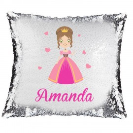 Princess Magic Reveal Cushion Cover PERSONALISED Sequin Pillow Xmas Gift