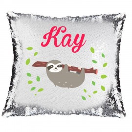 Sloth Magic Reveal Cushion Cover PERSONALISED Sequin Pillow Xmas Gift