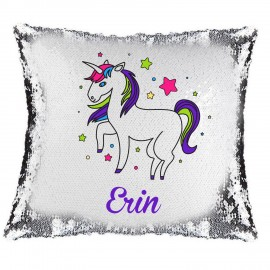 Unicorn Magic Reveal Cushion Cover PERSONALISED Sequin Pillow Xmas Gift