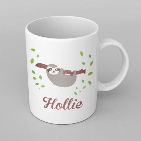 Cute Sloth design PERSONALISED Mug any name, Custom Made