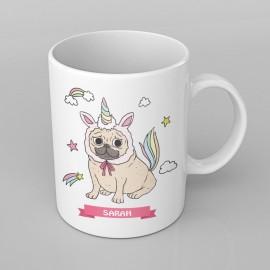 Pug Unicorn design PERSONALISED Mug any name, Custom Made