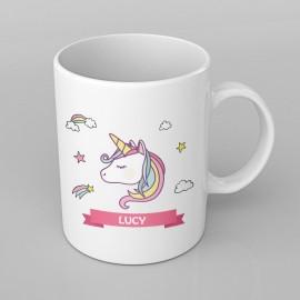 Rainbow Unicorn design PERSONALISED Mug any name, Custom Made