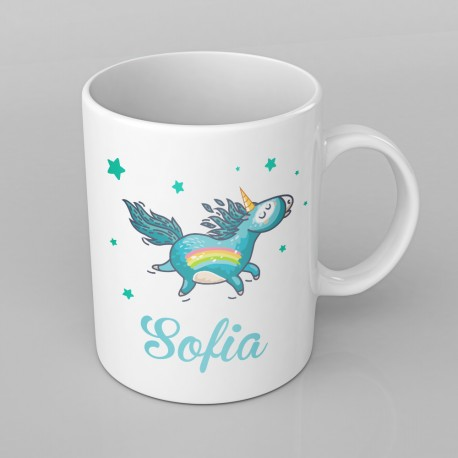 Blue Unicorn design PERSONALISED Mug any name, Custom Made