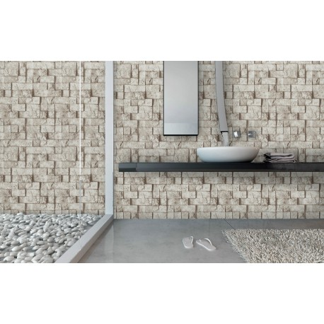 Cover Styl' - U9 Grey Stone Brick Self Adhesive Sticker, Vinyl Window Wall Door Furniture Covering