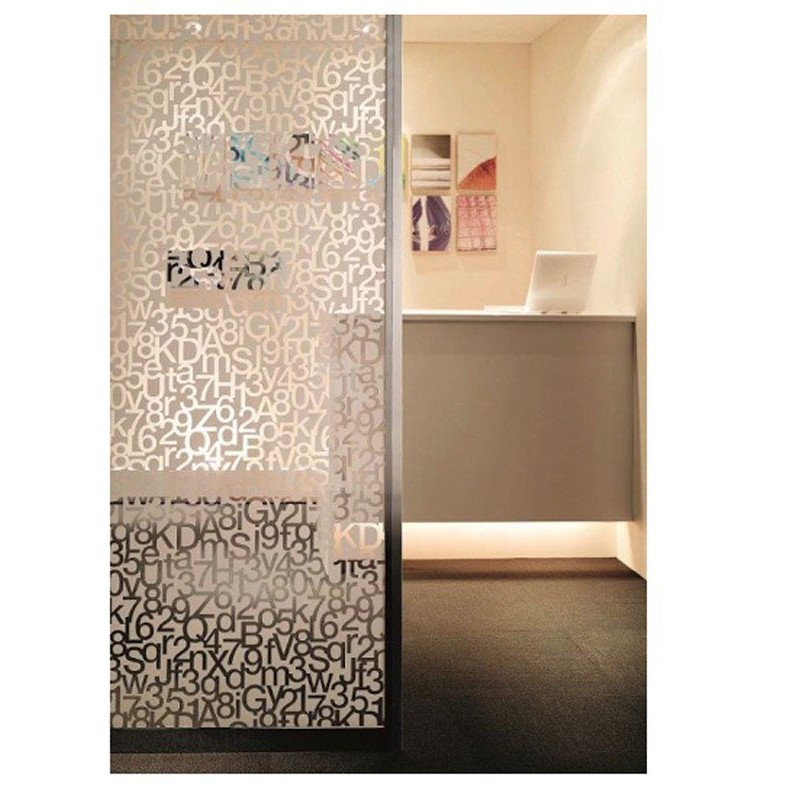 Decorative White Frosted Window Glass Film Thema Alphabet Number