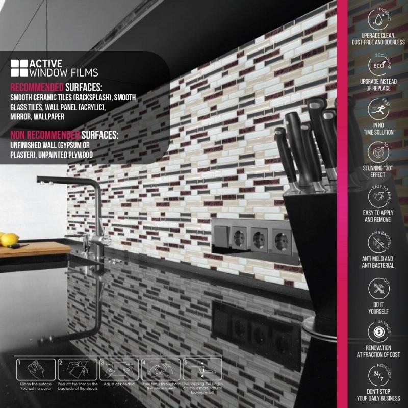 Rose Gold Marble White Brown Luxury 3d Gel Mosaic Tile