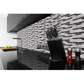 Chrome Silver, Nickle, White, White 3D effect, Self Adhesive Gel MOSAIC TILE Wall Transfer Textured Sticker Tile AWF06