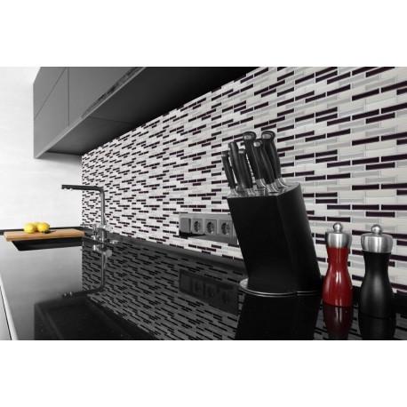 Chrome Silver, Nickle, White White 3D MOSAIC TILE Wall Transfer