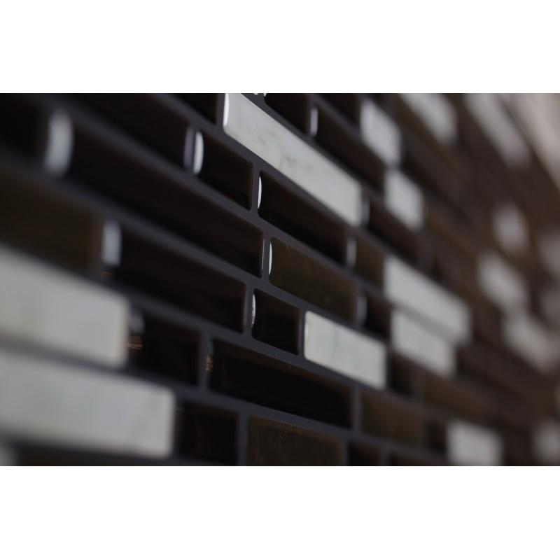 Dark Black Marble Grey Brown Luxury 3d Gel Mosaic Tile