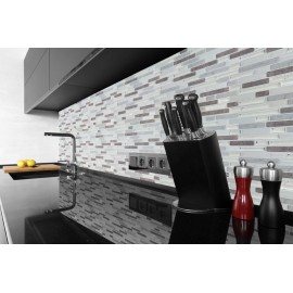 Chrome, Grey Marble, Beige Marble 3D effect, Self Adhesive Gel MOSAIC TILE Wall Transfer Textured Sticker Tile AWF08
