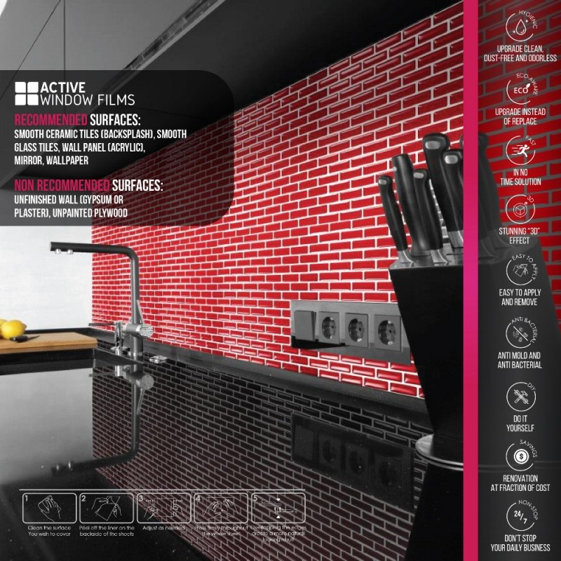 Bright Red Mosaic Luxury 3d Gel Mosaic Tile Wall Transfer