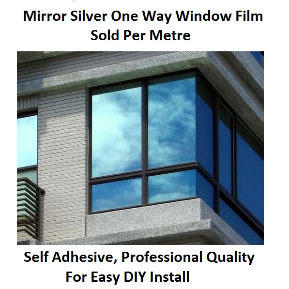 mirror silver 20 solar reflective window film one way